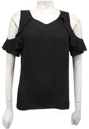 BLACK - Lucy frill arm top