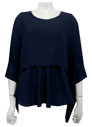 LIMITED STOCK - NAVY - Ellen DG overlay top