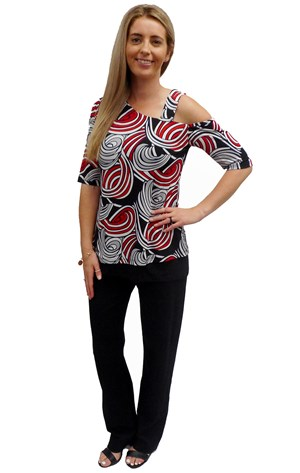 PRINT 551 - Sally one shoulder sleeve and strap tunic top