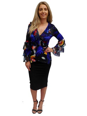 LIMITED STOCK - PRINT 555 - Amanda soft knit wrap top with frills