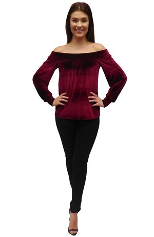 PORT - Holly velour off the shoulder top