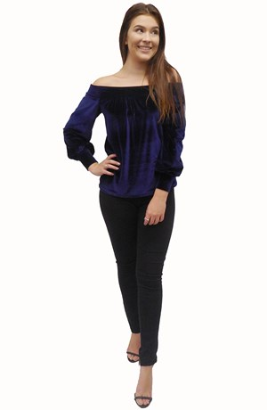 MIDNIGHT - Holly velour off the shoulder top