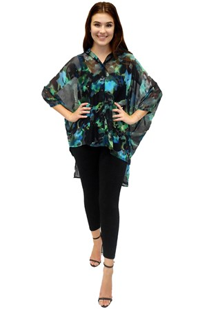 Pauline button front throw over kaftan top