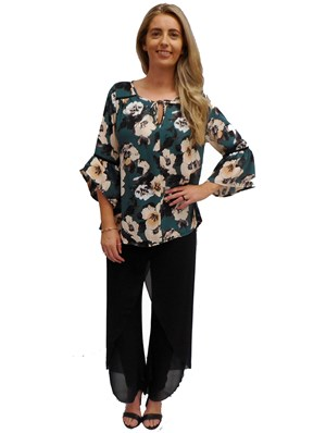 GREEN PRINT - Bailey chiffon top with tail