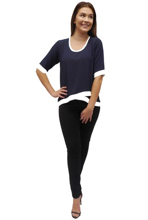 NAVY - Zoe contrast top
