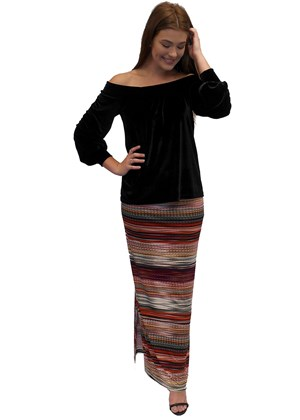 LIMITED STOCK - Ann printed maxi skirt with side splits