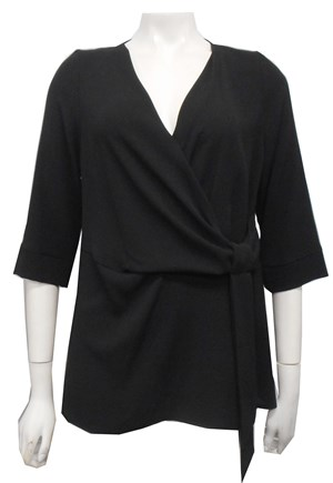 LIMITED STOCK - BLACK - Louise tunic top with tie