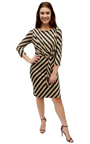 Marie diagonal stripe knot dress