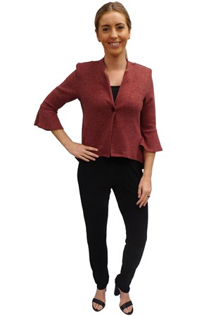 BURGUNDY - Paula high low jacket with flare sleeve