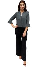 CHARCOAL - Paula high low jacket with flare sleeve