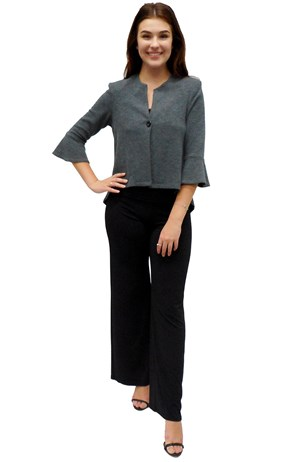 CHARCOAL - Paula high low jacket with flare sleeve
