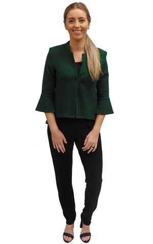 LIMITED STOCK - GREEN - Paula high low jacket with flare sleeve
