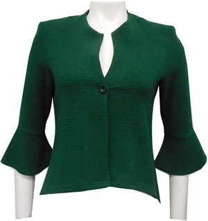 GREEN - Paula high low jacket with flare sleeve