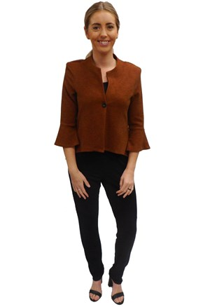 RUST - Paula high low jacket with flare sleeve