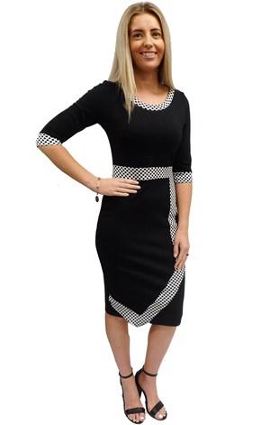 Faith ponti contrast spot dress