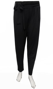 BLACK - Karla soft knit pants with tie