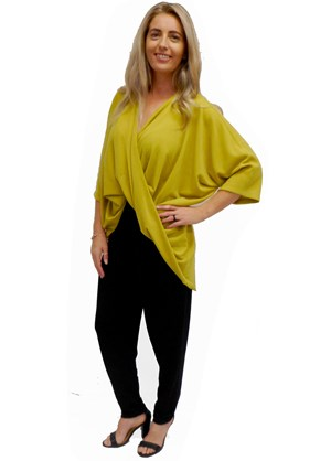 LIME - Bella high low twist front top