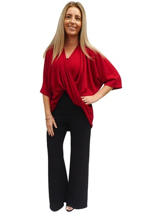 RED - Bella high low twist front top