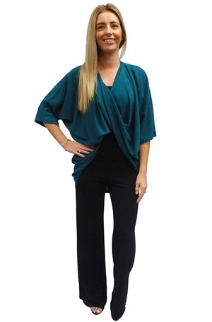 TEAL - Bella high low twist front top