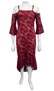 BURGUNDY - Celesta lace dress