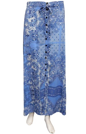 BLUE - Heidi button front maxi skirt