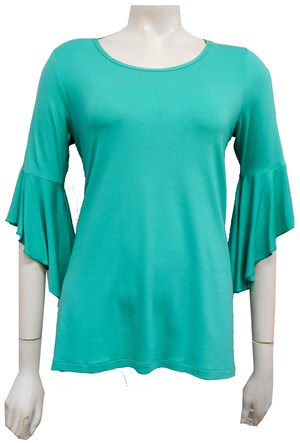 Amelia Silky Knit Frill Sleeve Top - Green