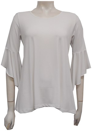 Amelia Silky Knit Frill Sleeve Top - White