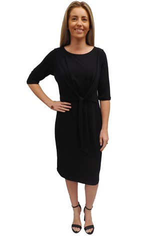 SOLD OUT - BLACK - Louise tie front dress