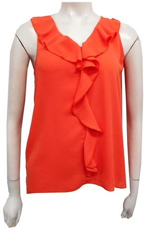 NEW ORANGE - Penny ruffle front singlet