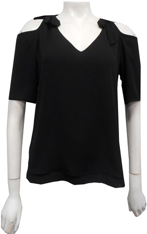 BLACK - Annabella tie shoulder top