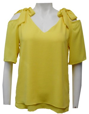 YELLOW - Annabella tie shoulder top