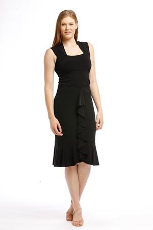 Soft Knit Frill Skirt BLACK