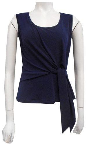 NAVY - Chanel tie front top