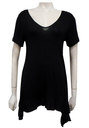 LIMITED STOCK - BLACK - Karly ruffle hem top