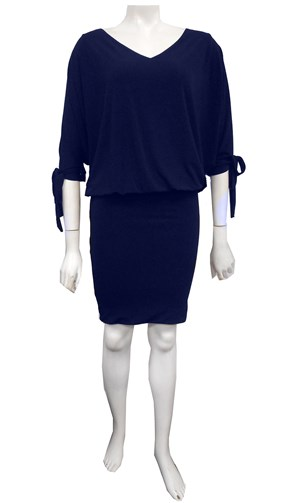 NAVY - Ruth batwing tie dress