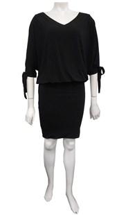 BLACK - Ruth batwing tie dress