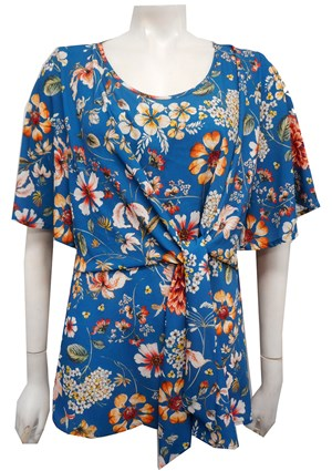Julia Woven Crepe Top With Tie Detail - Blue Floral