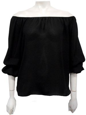 BLACK - Ellen bubble sleeve top