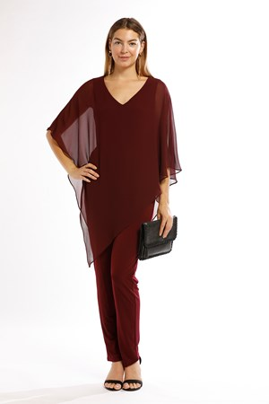 Belinda Chiffon Angled Top With Soft Knit Lining - Port