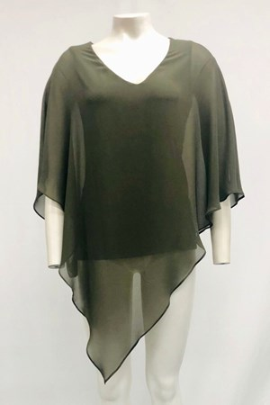 Belinda Chiffon Angled Top With Soft Knit Lining -Khaki