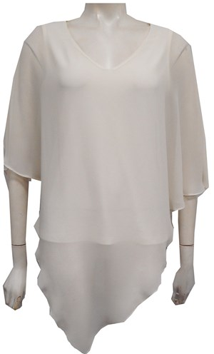 Belinda Chiffon Angled Top With Soft Knit Lining -Ivory