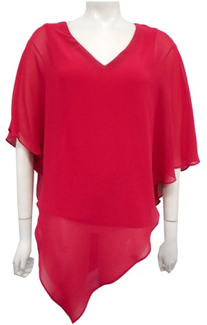 Belinda Chiffon Angled Top With Soft Knit Lining -Fuschia