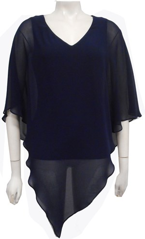 Belinda Chiffon Angled Top With Soft Knit Lining -Navy