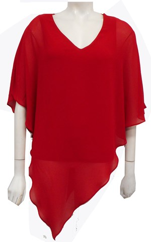 Belinda Chiffon Angled Top With Soft Knit Lining -Red