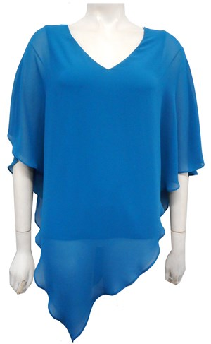 Belinda Chiffon Angled Top With Soft Knit Lining -Teal