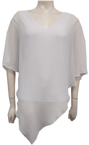 WHITE - Belinda double layer angle top