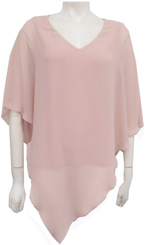Belinda Chiffon Angled Top With Soft Knit Lining - Baby Pink
