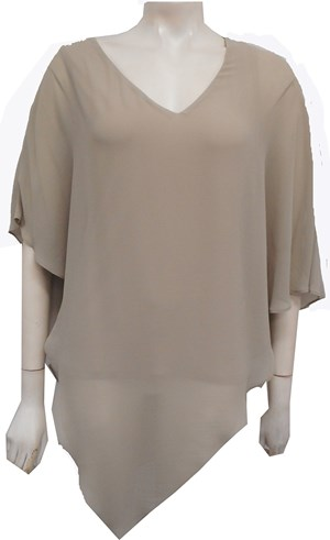 Belinda Chiffon Angled Top With Soft Knit Lining -Beige