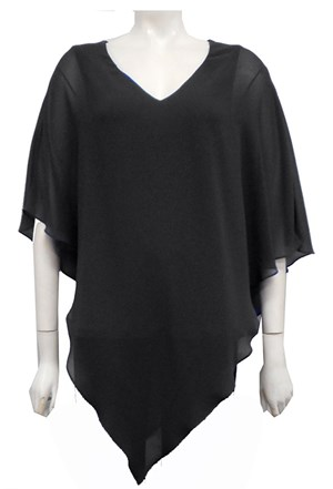 Belinda Chiffon Angled Top With Soft Knit Lining -Black