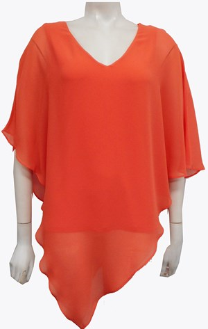 Belinda Chiffon Angled Top With Soft Knit Lining - Coral